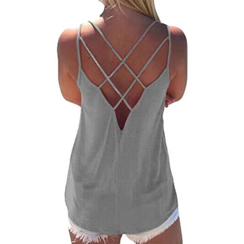Pacrate Top Damen Sommer Ärmellose Oberteile Blusen Elegant Rundhals Tank Top Cross T Shirt