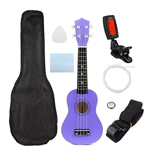 Beck Orlando Wirtschafts Sopran-Ukulele 21 Zoll Uke Musikinstrument mit Gigbag Strings Tuner Lila reizend Geschenk