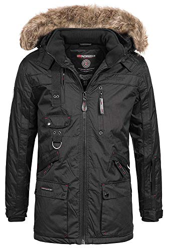Geographical Norway Chirac Herren Parka Winter Jacke Parker Schwarz XL