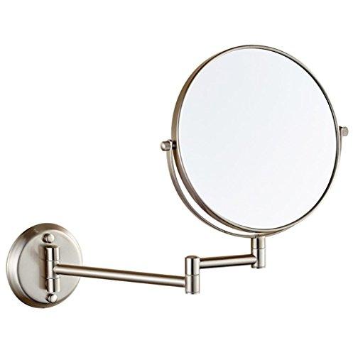 Wand-Make-up-Spiegel Teleskop-Badezimmer Fold Beauty Mirror Lupe, Nickel Wire Drawing, 8 inch Screws 10x