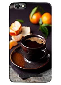 Omnam Black Tea In Black Cup And Plate With Black Effect Printed Designer Back Cover Case For Lenovo Vibe C (A2020)