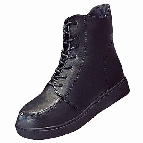 HSXZ Scarpe donna pu inverno combattere Stivali Stivali tacco piatto rotondo Mid-Calf Toe stivali per Nero Casual Black