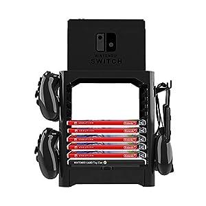 leegoal Homebase für Nintend Switch Aufbewahrung Ständer, Multifunktionale Halter Ständer Regal für Nintend Schalter Disc Konsole Host Controller Zubehör