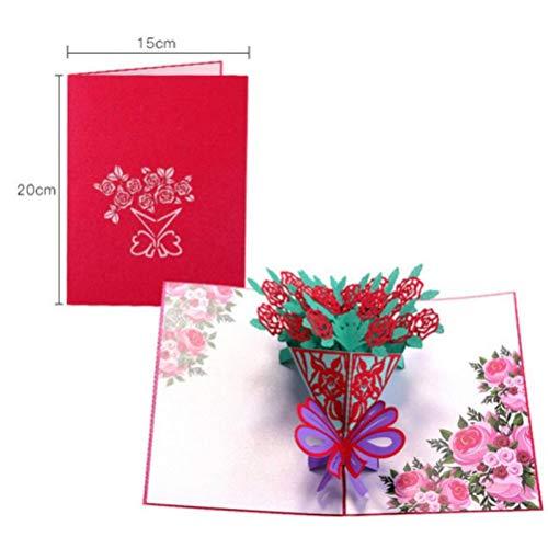 op-Up-Grußkarten mit Umschlag Laser-Schnitt-Postkarte für Geburtstag Weihnachten Valentine'Day Party Hochzeit Dekoration ()