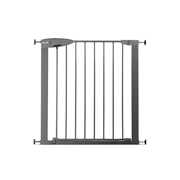 Munchkin Safety Gate Easy Lock (Silver) Munchkin Safety gate with easy lock and easy closure by pushing with one hand The pressure indicator ensures correct installation of the barrier The press-fit U frame allows 4 points firmly fixed by Assembly pressure 1