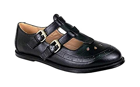 Mesdames Femmes Filles Boucle Or T Bar Geek Découpes école bureau Chaussures Pompes Taille - - Black Faux Leather Two Buckle Straps, 38