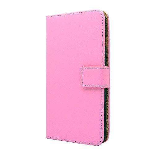 Apple iPhone Echtes Leder Etui, Premium Leder Wallet Case Mit [Kickstand] [Kartensteckplätze] [Magnetverschluss] Flip Notebook-Abdeckung Case [ Für Apple iPhone 4 / 4s Schwarz ] + Freier Schirm-Schutz Light Rosa
