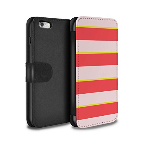 Stuff4 Coque/Etui/Housse Cuir PU Case/Cover pour Apple iPhone 6 / Rouge/Blanc/Bande Design / Mode Bord Mer Collection Rose/Jaune Bande