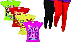 GIRLS TOPS HALF SLEEVES 4 PCS & LEGGINGS 2 PCS