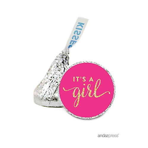 Andaz Press Chocolate Drop Labels Stickers Single, Baby Shower, It's a Girl Fuchsia Pink and Gold Glitter, 216-Pack, For Hershey's Kisses Party Favors, Gifts, Decorations by Andaz Press (Gold Hershey Kisses)