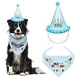 VIPITH Bandana de cumpleaños para perro, bufanda triangular de algodón para perro con sombrero de fiesta de cumpleaños para perro, gran disfraz de cachorro de cumpleaños, regalo y decoración de fiesta
