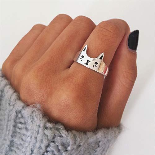 Weiy Kreative Schöne Kätzchen Katze Design Öffnen Einstellbare Ring Lustige Nette Charming Stilvolle Band Ring Splitter Ring Schmuck Zubehör Geschenk Für Frauen Mädchen