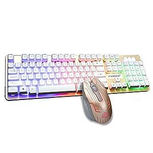 XPFF Mechanischer Maus- und Tastatursatz, USB-Kabelspielmaus- und Tastatursatz 7-Farben-Hintergrundbeleuchtung für wasserdichtes und langlebiges Arbeitsspiel und -Gebrauch,Schwarz