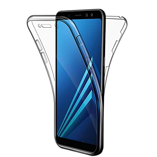 Samsung Galaxy A8 2018 Hülle, Leathlux Silikon Crystal Full Schutz Cover transparent TPU Ultra dünn Case Vorne & Hinten Schutzhülle für Samsung Galaxy A8 2018