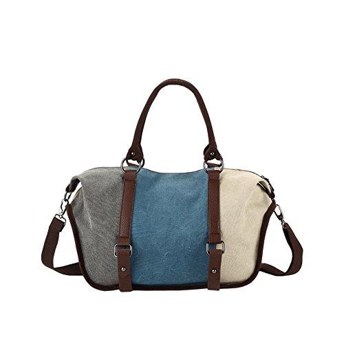 Yvonnelee 3-Farbige Canvas Tasche Handtasche Henkeltasche Umhängetasche für Damen und Frauen - Mitte Blau Mitte Blau