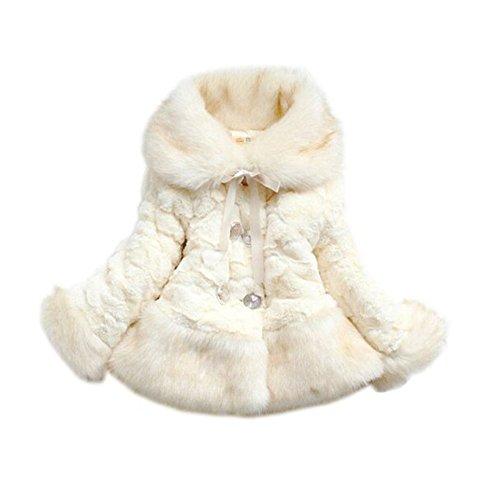 sallyshiny Baby Mädchen Kunstfell Fleece Jacke Mäntel Winter Warm Coat Weihnachts Schneeanzug, Kleidung Gr. 4-5 Jahre, Beige - Beige (Baby-mädchen Kunstfell-jacke)