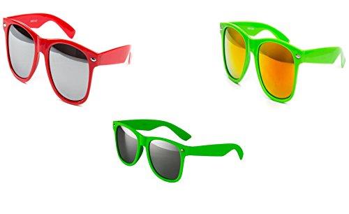 Preisvergleich Produktbild 3 er Set Sonnenbrille Nerdbrille Nerd Atzen Brille Rot Grün Neon Grün D500