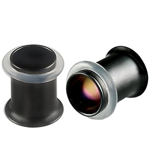 2G 2 gauge 7mm Black Steel Single Flared Tunnels Ear Plugs ABEB Expanders Stretching Body Piercing Jewellery