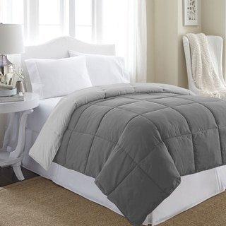 Tröster Bettdecke Einsatz gesteppt mit Ecke Register-Hypoallergen, siliconisierten Plüsch Fiberfill. Box genäht Gänsedaunen Alternative Betten, Polyester-Mischgewebe, grau/weiß, King Size -