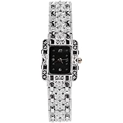 Womens Crystal Decor Quartz Wrist Watches Silver Butterfly Band Square Dial Bracelets Wristwatch