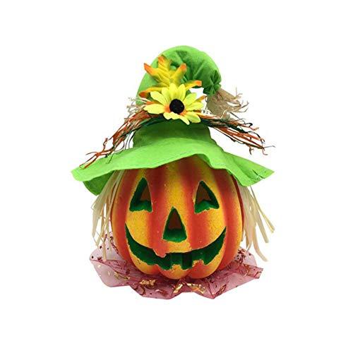 Pegtopone cappello con lanterna per halloween, con luci a forma di zucca, divertenti vestiti da zucca, decorazioni per eventi e festival verde