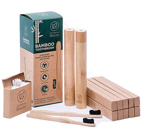 Conserve Beauty Bamboo Toothbrushes - 10 Pack with 2 Travel/Storage Cases. Premium Design, Natural Wooden Toothbrush - Charcoal Medium Bristles. Vegan, Eco-Friendly, Biodegradable.