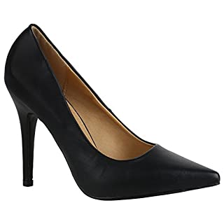 Spitze Damen Pumps High Heels Lack Stilettos Schuhe 157122 Schwarz Glatt 39 Flandell