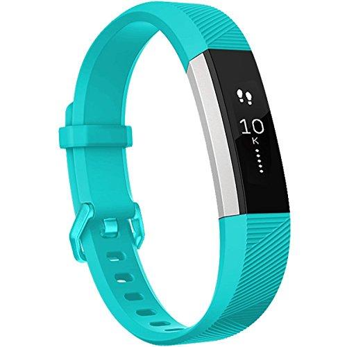 HUMENN Für Fitbit Alta HR Armband, Alta Armband Verstellbares Sport Ersatz Band Ersatzarmband Wristband Silikonarmband Fitness Zubehörteil mit Metallschließe Small Teal