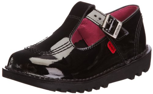 Kickers Kick Lo Aztec Patent Patl IF Black School Shoe 1-11619 11...