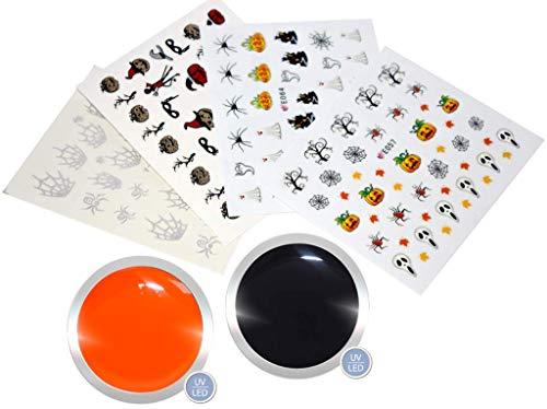 Farbgel für Gelnägel im Set Halloween 2 | UV LED Nagelgel | 2x 5 ml | Farben: Pumpkin/Orange, Deep Black/Schwarz | Gel mit hoher Deckkraft | GRATIS je 1 Nail Sticker/Tattoo Halloween