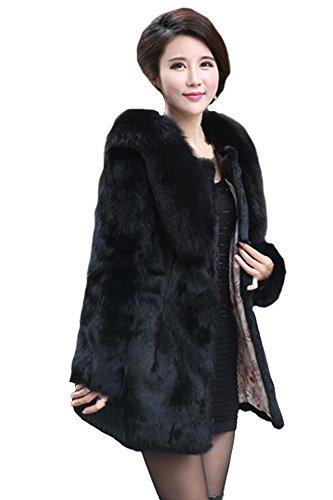 queenshiny Damen 100% Echte Kaninchen Lang Mantel Jacke Mit Fuchs Kragen Winter Schwarz
