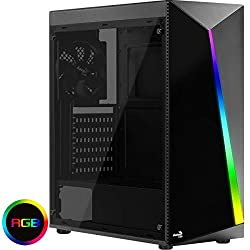 Aerocool SHARD - Caja de PC, ATX, panel acrílico, RGB 13 modos, ventilador 12cm