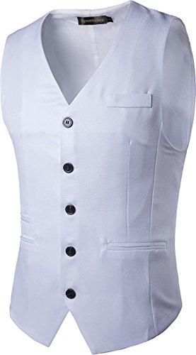White Pocket Hemd (Sportides Herren Freizeit Fashion Tank Tops Sleeveless Weste Vest Pocket Fashion T-shirt Sports JZA003 White M)
