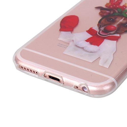 iPhone 6S Hülle Weihnachten, Rosa Schleife iPhone 6 Schutzhülle Ultra Dünn Transparent TPU Silikon Backcover Schale Weihnachten Muster Handyhülle für iPhone 6 / 6S Weihnachtshund
