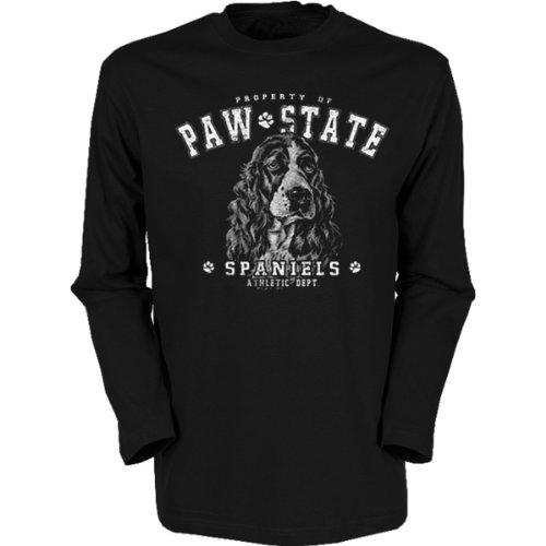Marken Langarmshirt - Motiv English Springer Spaniel - cooles Langarm Shirt Geschenk Herren Weihnachten Geburtstag Schwarz