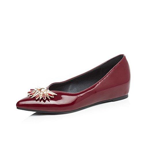 VogueZone009 Damen Lackleder Ziehen Auf Spitz Zehe Niedriger Absatz Rein Pumps Schuhe Rot