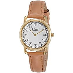 Burgi Women's BUR121TN Gold-Tone Watch with Genuine Leather Strap