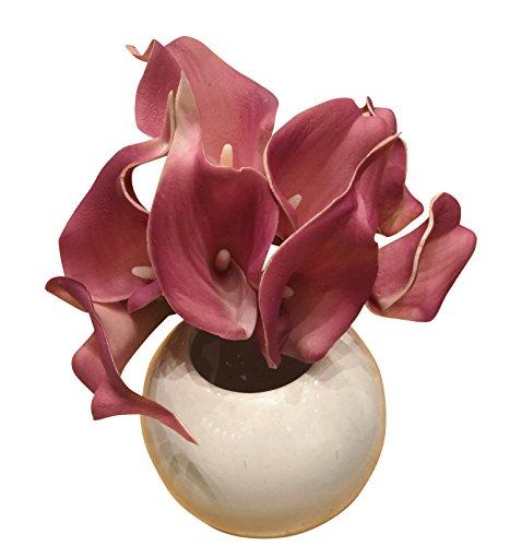 10 piezas Lirio de cala flores artificiales para decoración de boda fiesta hogar jardín decoración simulación flor Oscuro Morado