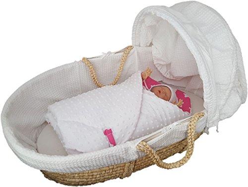 Blueberryshop wendbar Dot Popcorn Minky Fleece Baumwolle, Komfort Wickeltuch/Decke für Neugeborenes Baby, Pink/Weiß