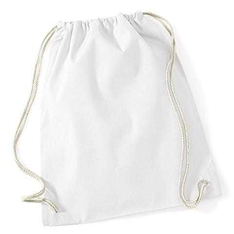 BagBase en coton Westford Mill Corde Cordon de serrage Fermeture Alternative à Polyester Beige 49,5gymsacs 100% coton blanc