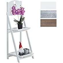 CLP estantería escalera KIMI, estantería para plantas y flores, estantería plegable con dos cajas blanco