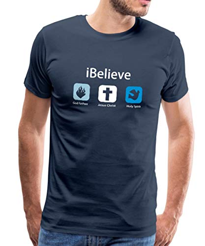 Spreadshirt iBelieve Männer Premium T-Shirt, L, Navy