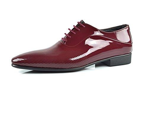 CAPRIUM Lackschuhe Derbyschuhe Schuhe Business Glänzend, Herren E1526 Schuhgröße 44, Farbe Dunkelrot