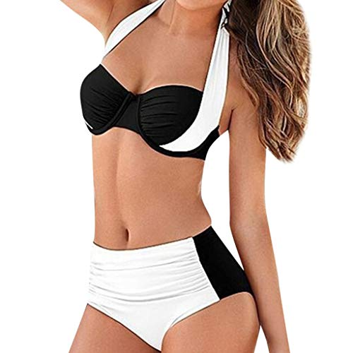 OIKAY Damen hohe Taille gepolstert Push-Up Bikini Set für mollige Bügel Push up Striped Badebekleidung Bikini Oberteil Punkte -