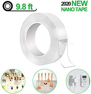 hayan lions mill monkey grip mg-3m/9.8 ft secure anything, double sided reusable adhesive silicone anti-slip strong adhesive traceless multi-functional sticky strips tape, transparent
