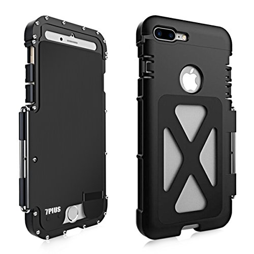 Alienwork Metal Gear Custodia per iPhone 7 plus antiurto Cover Case Bumper Supporto Acciaio inossidabile nero AP7P06-01