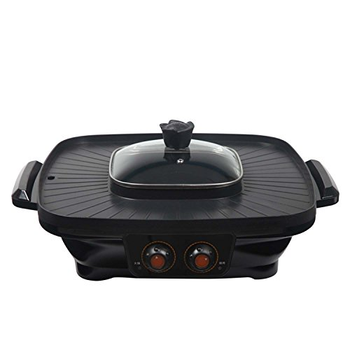 All-in-one cookware pan Electric Baking Pan Multi-Function, Kitchen Cookers Appliance, , Korean Style BBQ Poke Hot Pot,Home Electricity Oven No Smoke Electric Grill Barbecue ( Design : Double-Flavor Pot )