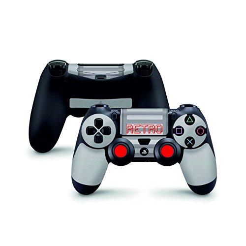 Skins4u Sony Playstation 4 Skin PS4 Controller Skins Design Sticker Aufkleber styling Set auch für Slim & Pro - Retro Horizontal