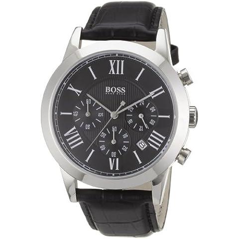 Hugo Boss 1512574 - Reloj analógico de caballero de cuarzo con correa de piel negra