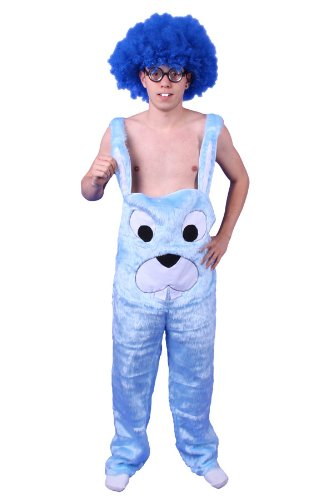Plüschkostüm Hasen Kostüm Latzhose blau Gr. M